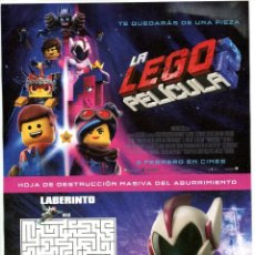 Cine: LA LEGO 2. DIBUJOS ANIMADOS 21 X 29,5 CMS... Lote 147745206