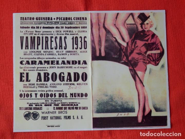 VAMPIRESAS 1936, IMPECABLE DOBLE FACSIMIL, DICK POWELL GLORIA STUART, C/P TEATRO GUIMERA 1935 (Cine - Folletos de Mano - Musicales)