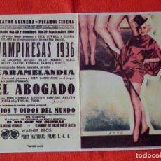 Cine: VAMPIRESAS 1936, IMPECABLE DOBLE FACSIMIL, DICK POWELL GLORIA STUART, C/P TEATRO GUIMERA 1935. Lote 147752854