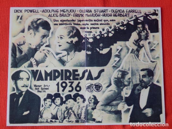 Cine: vampiresas 1936, impecable doble facsimil, dick powell gloria stuart, c/p Teatro guimera 1935 - Foto 2 - 147752854