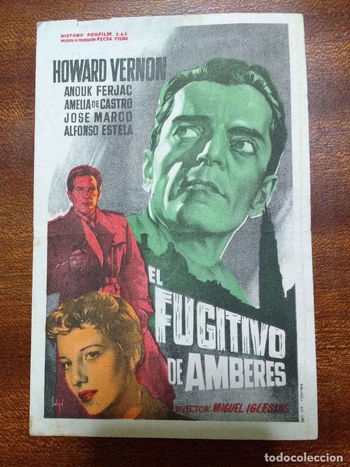 PROGRAMA DE CINE 1958 EL FUGITIVO DE AMBERES - HOWARD VERNON (Cine - Folletos de Mano - Suspense)