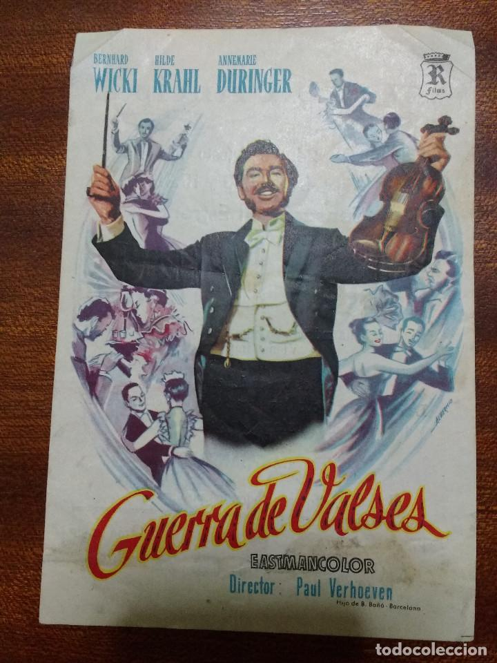 PROGRAMA DE CINE 1958 GUERRA DE VALSES - BERNHARD WICKI, HILDE KRAHL (Cine - Folletos de Mano - Musicales)