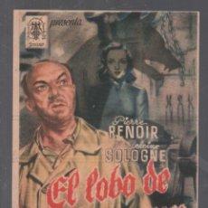 Folhetos de mão de filmes antigos de cinema: EL LOBO DE MALVENEUR / PROGRAMA SENCILLO CON PUBLICIDAD RF-2083 , BUEN ESTADO. Lote 147801686
