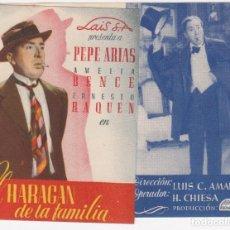 Cine: PROGRAMA DE MANO ORIGINAL EL HARAGAN DE LA FAMILIA. DOBLE (CINE MUNICIPAL CÁDIZ 1945). Lote 147836042