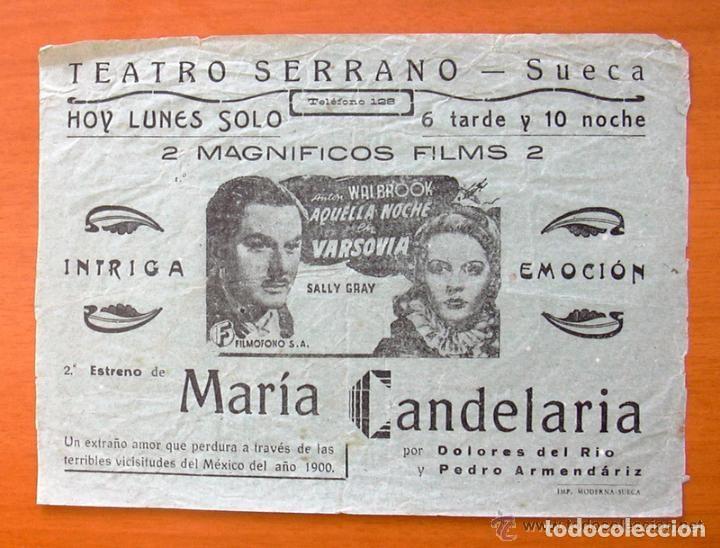 PROGRAMA LOCAL - AQUELLA NOCHE EN VARSOVIA - MARIA CANDELARIA - TEATRO SERRANO, SUECA (Cine - Folletos de Mano - Comedia)