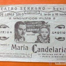 Cine: PROGRAMA LOCAL - AQUELLA NOCHE EN VARSOVIA - MARIA CANDELARIA - TEATRO SERRANO, SUECA. Lote 147844978