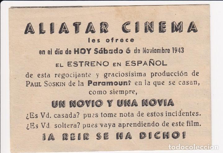 Cine: programa de mano original boda sosegada. doble (aliatar cinema 1943) - Foto 2 - 147846470