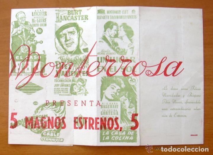 PROGRAMA LOCAL -CINE MONTERROSA -PROGRAMACION DICIEMBRE 1953, DIEZ VALIENTES, UN LUGAR EN EL SOL ETC (Cine - Folletos de Mano - Comedia)