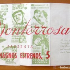 Cine: PROGRAMA LOCAL -CINE MONTERROSA -PROGRAMACION DICIEMBRE 1953, DIEZ VALIENTES, UN LUGAR EN EL SOL ETC. Lote 147846870