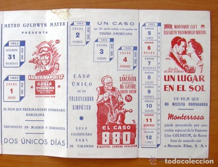 Cine: Programa local -Cine Monterrosa -Programacion Diciembre 1953, Diez valientes, Un lugar en el sol etc - Foto 4 - 147846870