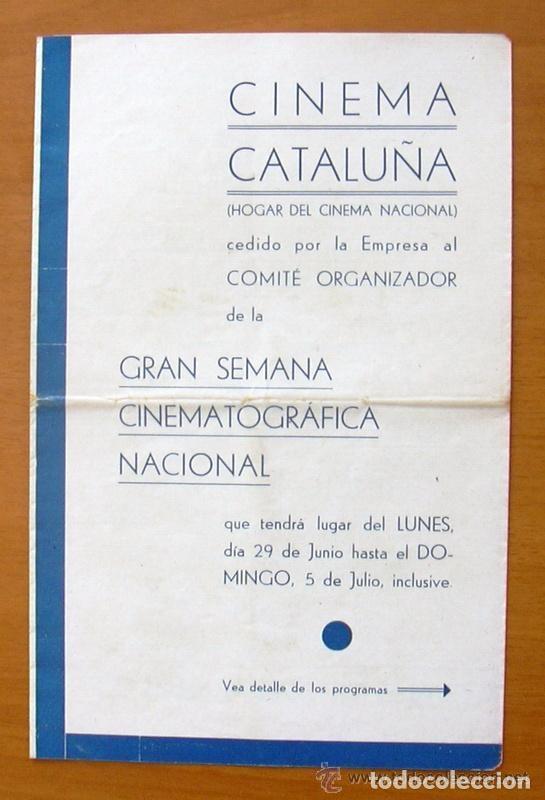 PROGRAMA LOCAL - CINEMA CATALUÑA - PROGRAMACIOIN SEMANAL, 29-6 HASTA 5-7 DEL AÑO 35-36 (Cine - Folletos de Mano - Comedia)