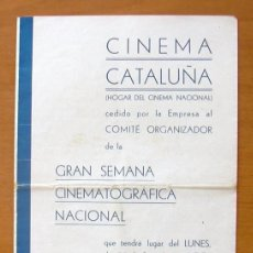 Cine: PROGRAMA LOCAL - CINEMA CATALUÑA - PROGRAMACIOIN SEMANAL, 29-6 HASTA 5-7 DEL AÑO 35-36. Lote 147847978