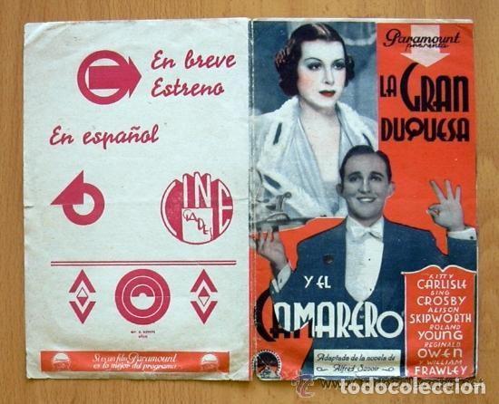 LA GRAN DUQUESA Y EL CAMARERO - PELICULA DE 1934 - BING CROSBY - PUBLICIDAD CINE GADES DE CÁDIZ (Cine - Folletos de Mano - Comedia)