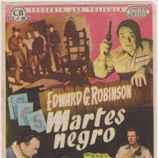 Cine: PROGRAMA DE CINE - MARTES NEGRO - EDWARD G. ROBINSON - CINE RIALTO - SITGES - 1955. Lote 147938686