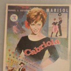 Cine: FOLLETO CINE CABRIOLA MARISOL. DISEÑO JANO. SIN PUBLICIDAD. Lote 147957850