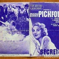 Cine: SECRETOS - PELICULA DE 1933 INTERPRETADA POR MARY PICKFORD Y LESLIE HOWARD. Lote 147965414