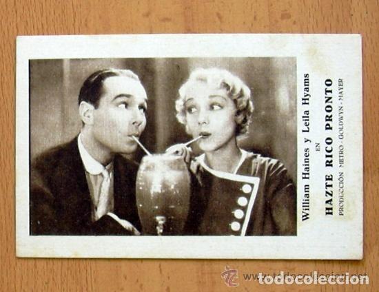 HAZTE RICO PRONTO - PELICULA DE 1932 - WILLIAM HAINES - PUBLICIDAD CINE GADES DE CÁDIZ (Cine - Folletos de Mano - Comedia)