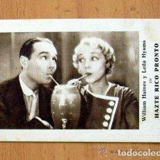 Cine: HAZTE RICO PRONTO - PELICULA DE 1932 - WILLIAM HAINES - PUBLICIDAD CINE GADES DE CÁDIZ. Lote 147983666