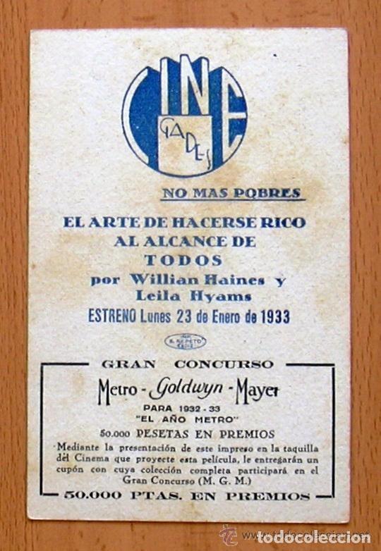 Cine: Hazte rico pronto - Pelicula de 1932 - William Haines - Publicidad Cine Gades de Cádiz - Foto 2 - 147983666
