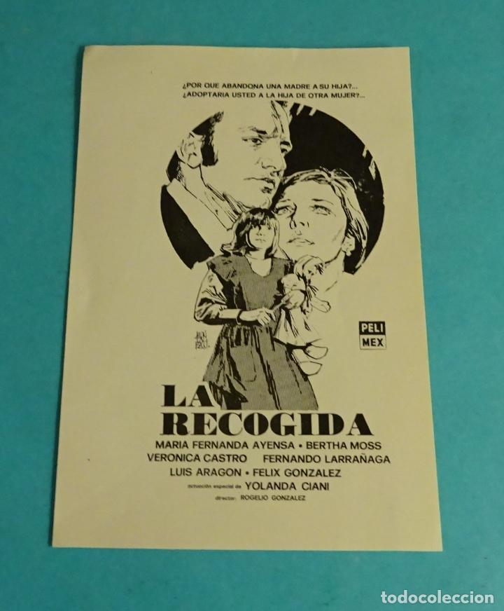 LA RECOGIDA. MARÍA FERNANDA AYESA. BERTHA MOSS. VERÓNICA CASTRO. DIREC. ROGELIO GONZÁLEZ. MÉJICO (Cine - Folletos de Mano - Drama)