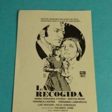 Flyers Publicitaires de films Anciens: LA RECOGIDA. MARÍA FERNANDA AYESA. BERTHA MOSS. VERÓNICA CASTRO. DIREC. ROGELIO GONZÁLEZ. MÉJICO. Lote 148065010