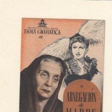 Cine: ABNEGACIÓN DE MADRE. PROGRAMA DOBLE CON PUBLICIDAD.. Lote 148077142