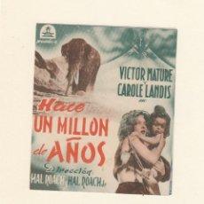 Cine: HACE UN MILLÓN DE AÑOS. PROGRAMA DOBLE CON PUBLICIDAD.. Lote 148077538