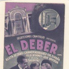 Cine: EL DEBER. PROGRAMA DOBLE CON PUBLICIDAD.. Lote 148079798