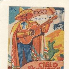 Cine: BAJO EL CIELO DE MÉXICO. PROGRAMA DOBLE CON PUBLICIDAD.. Lote 148082306