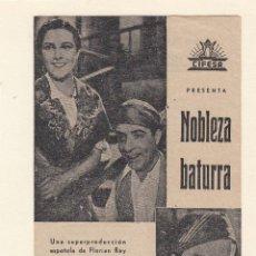 Cine: NOBLEZA BATURRA. PROGRAMA DOBLE CANCIONERO SIN PUBLICIDAD.. Lote 148086234