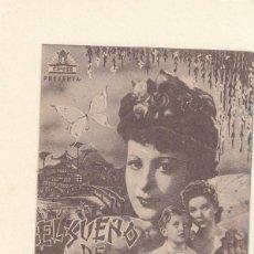 Cine: EL SUEÑO DE BUTTERFLY. PROGRAMA DOBLE CON PUBLICIDAD.. Lote 148087514