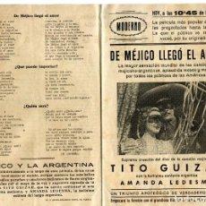 Cine: DE MÉJICO LLEGÓ EL AMOR, CON TITO GUIZAR. CANCIONERO.. Lote 148105958
