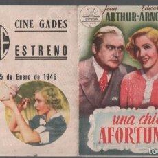 Cine: UNA CHICA AFORTUNADA - PROGRAMA DOBLE DE CIFESA CON PUBLICIDAD RF-2091 , BUEN ESTADO. Lote 148154270