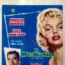 Cine: EL MULTIMILLONARIO- MARILYN MONROE- TEATRO CENTRAL (MORÓN) 9 DE MARZO DE 1962. Lote 148191446