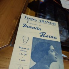 Cine: PROGRAMA MANO ÚNICO EN TC ORIGINAL DE JUANITA REINA.. Lote 148243902