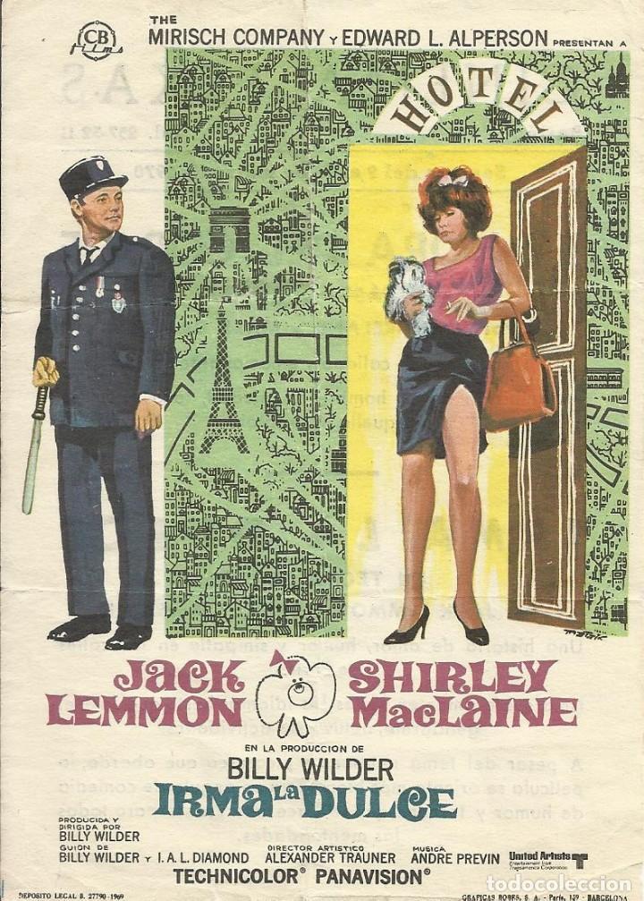 FILM IRMA LA DULCE. JACK LEMMON Y SHIRLEY MACLAINE. BILLY WILDER. 1970. CINEMA TEXAS. BARCELONA. (Cine - Folletos de Mano - Comedia)