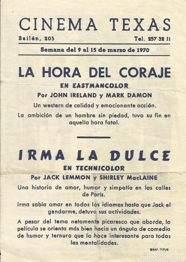 Cine: Film Irma la dulce. Jack Lemmon y Shirley MacLaine. Billy Wilder. 1970. Cinema Texas. Barcelona. - Foto 2 - 148540718