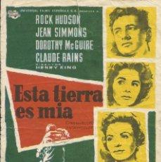 Cine: FILM ESTA TIERRA ES MÍA. ROCK HUDSON, JEAN SIMMONS. CINE SERRA. MATARÓ. 1960. FOLLETO DE CINE.. Lote 148548090