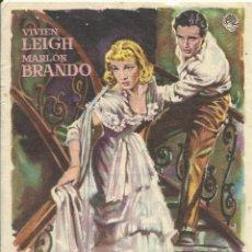 Cine: FILM UN TRANVÍA LLAMADO DESEO. MARLON BRANDO, VIVIEN LEIGH. ELIA KAZAN. CINE CENTRO VILASANÉS. 1956.. Lote 148548330
