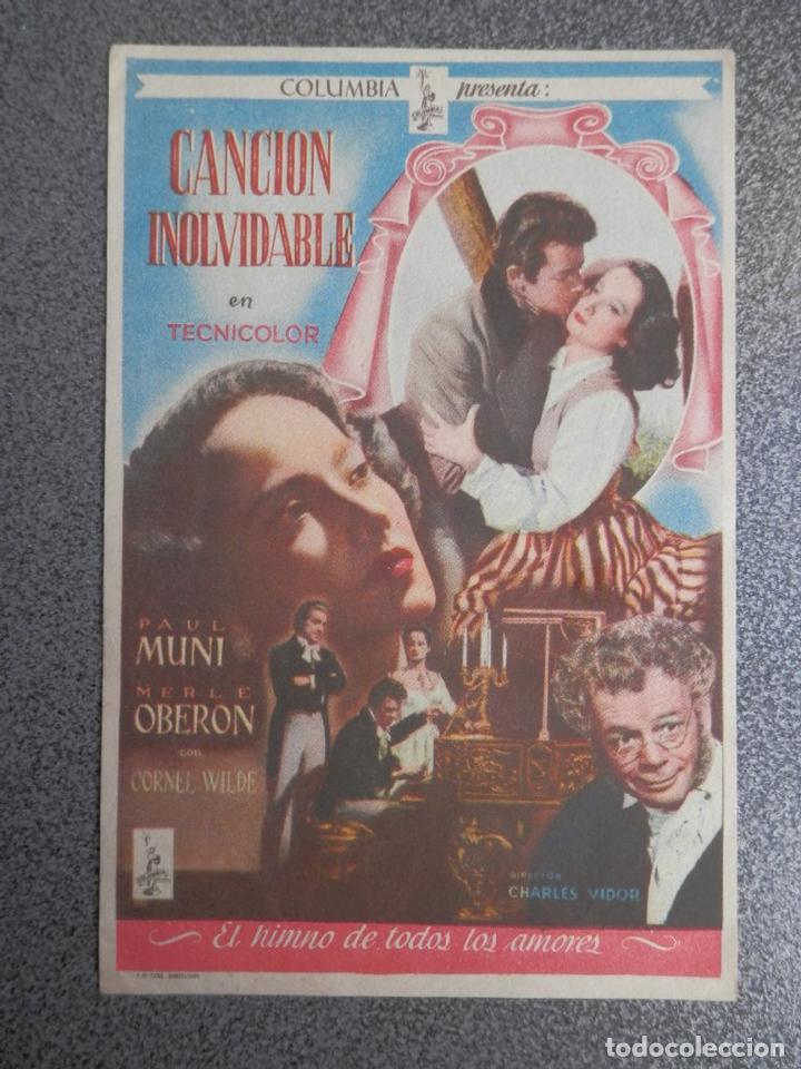 PROGRAMA CINE PUBLICIDAD: CANCIÓN INOLVIDABLE (Cine - Folletos de Mano - Bélicas)