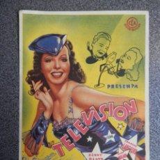 Folhetos de mão de filmes antigos de cinema: PROGRAMA CINE PUBLICIDAD: TELEVISIÓN. Lote 148714413