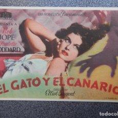 Foglietti di film di film antichi di cinema: PROGRAMA CINE PUBLICIDAD: EL GATO Y EL CANARIO. Lote 148714557