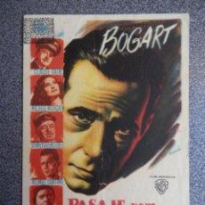 Folhetos de mão de filmes antigos de cinema: PROGRAMA CINE PUBLICIDAD: PASAJE PARA MARSELLA. Lote 148714561