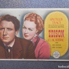 Folhetos de mão de filmes antigos de cinema: PROGRAMA CINE PUBLICIDAD: EDISON EL HOMBRE. Lote 148714569