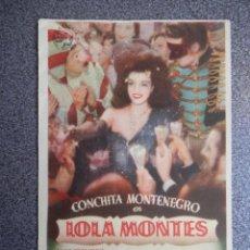Folhetos de mão de filmes antigos de cinema: PROGRAMA CINE PUBLICIDAD: LOLA MONTES. Lote 148714573