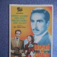 Flyers Publicitaires de films Anciens: PROGRAMA CINE PUBLICIDAD: DESPERTÓ SU CORAZÓN. Lote 148714693