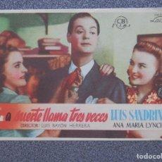 Cine: PROGRAMA DE CINE: LA SUERTE LLAMA TRES VECES. Lote 148866981