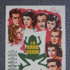 Cine: PROGRAMA DE CINE: LA RANA VERDE. Lote 148867302