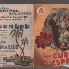 Cine: UNA CUBANA EN ESPAÑA - PROGRAMA DOBLE CIFESA CON PUBLICIDAD RF-2100, PERFECTO ESTADO. Lote 148872550