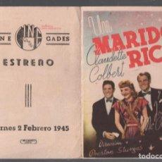 Cine: UN MARIDO RICO / PROGRAMA DOBLE CON PUBLICIDAD RF-2120 , BUEN ESTADO. Lote 149289042